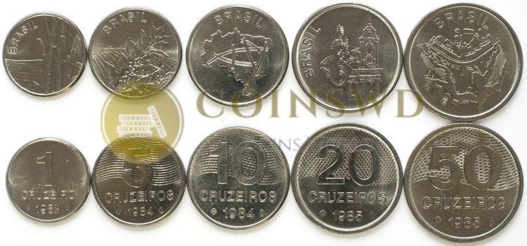 10-20 50 CRUZEIROS 1982-1984 BRAZIL UNC SET OF 5 COINS 1-5 1985