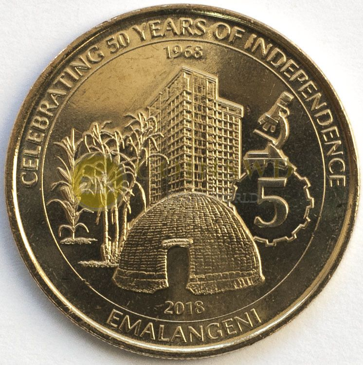 NEW ISSUE 5 EMALANGENI UNC COIN 2018 YEAR 50th ANNI INDEPENDENCE SWAZILAND