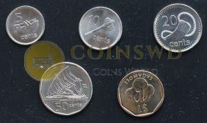 1 dollar 2009-2010 UNC Fiji set of 5 coins 5 cents