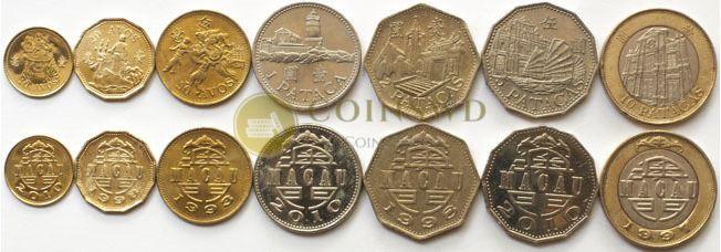 Macao 7 coins set 1993-2010 Buildings XF-UNC #3510