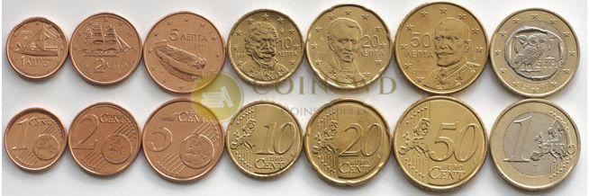 Greece 7 coins set 2011 euro #3924